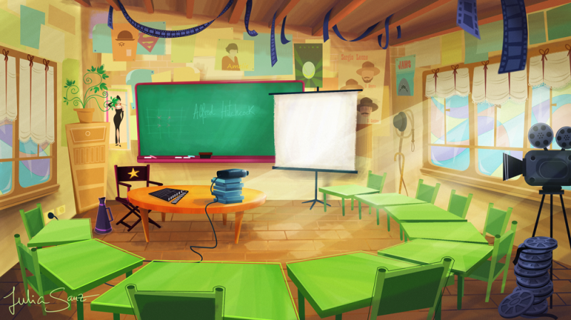 Modern Classroom Clipart : Background design briefing illustration concept art